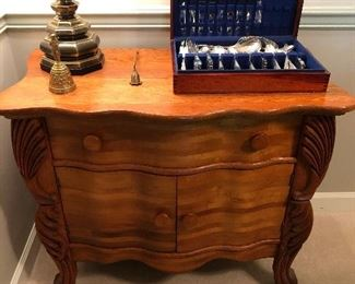 Nice Bombay style chest.  Rogers Silverplate flatware on top