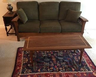 Mission style sofa w/MCM coffee table