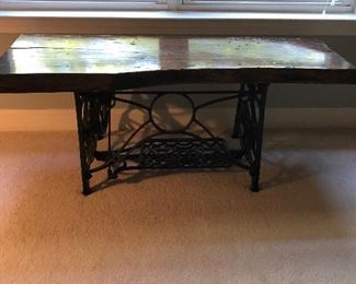 Singer sewing machine base conversion to primitive bench/table