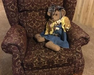 Plush Easy-Chair/Recliner and Bear---