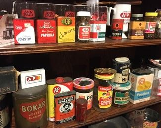 Neat collection of Jars, Tins, etc.,  of Grocery --Vintage or Antique Merchandise--mostly Branded, A&P, Ann Page, or IGA
