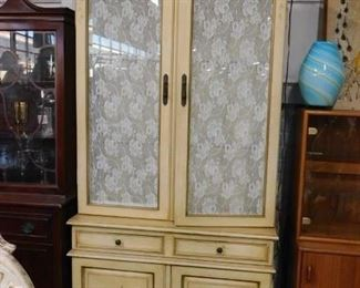 French Provincial Lighted china cabinet