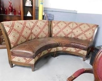 Custom Walter E Smithe curved distressed Leather seat benches  Each bench approx 5' wide