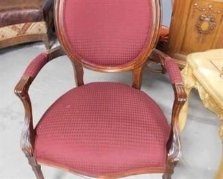 Solid wood burgundy padded seat & back arm chair