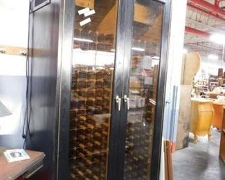"Vinotemp 89""tall 450+ wine bottle Solid matte black wood 2 compressor Wine cooler used only 3 years Brand New retail 2019 $8000 to $10,000"