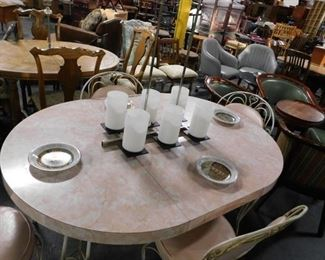 """Mid Century Pink 42"""" table with leaf & 4 bistro pink vinyl padded chairs"""