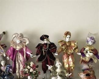 Porcelain Jester Dolls and Mask