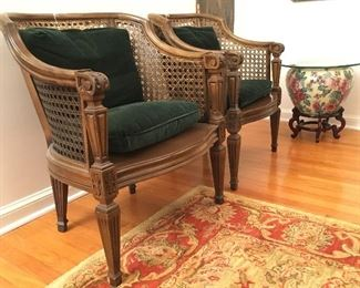 PAIR OF CANE BACK CLUB CHAIRS