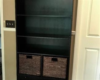 Pier 1, Black Bookcase with baskets and bottom drawer