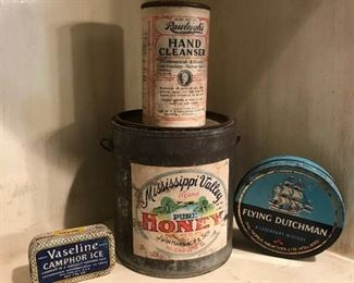 Collection of Antique Cans/tins including Mississippi Valley Pure Honey Can