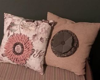 """Set of decorative pillows with floral embellishes-15"""""""