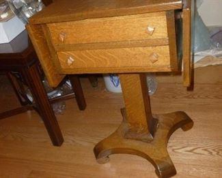 Unique antique oak drop-side table w/drawers