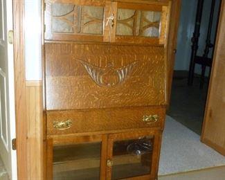 Beautiful tiger oak Antique Secretary/curio