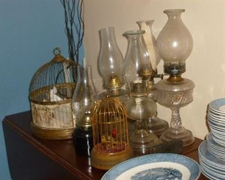 Oil lamps & bird cages