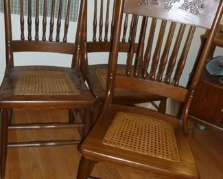 Set of only 3 cane seat pressed back chairs