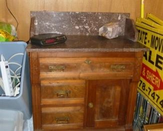 Marble top antique dry sink