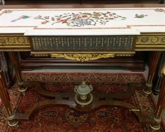 Beautiful Ornate Inlaid Marble Table Built for 20th Century Fox Movie Set
