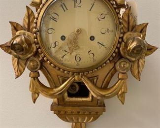 19th Century Gold Gilt Pendulum Wall Clock