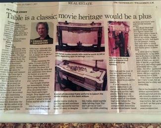 2011 Tennessean Newspaper Article Regarding the Marble 20th Century Studios Table
