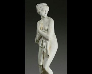 Large Greco-Roman Cast Stone Sculpture of a Lady on a cast stone pedestal - approx. 7.5 ft tall