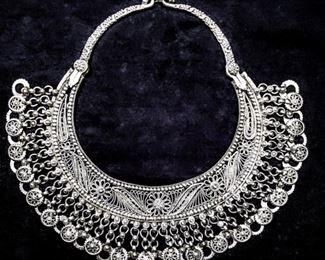 Antique Sterling Silver Yemenite Labbe Filigree Necklace