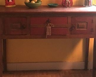 Orange distressed wood sideboard