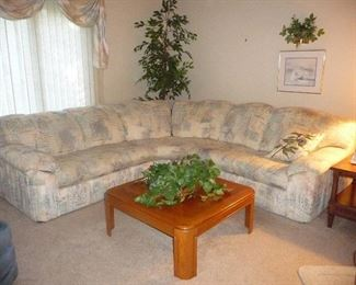 large sectional / coffee table ( side table to match not shown )