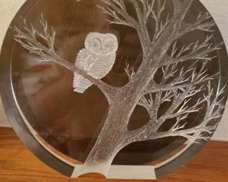 MCM etched  plexiglass  owl