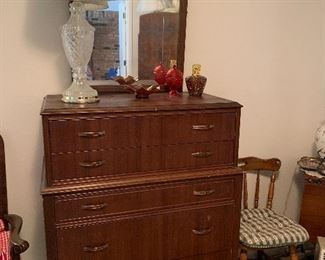 Antique Dresser- Carnival Glass and Lamp