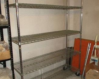 Six different chrome wire shelving units
