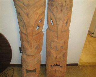Large Wall Decor Wood Tiki Heads