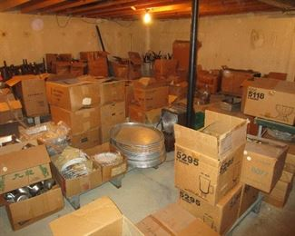 Lots of Boxes of NEW Matching Dishes, Boxes of Specialty Drinking Glasses, Stainless Steel and Aluminum Cooking Items