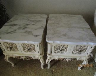 Marble Top Wood End Tables