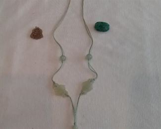 Vintage Jade Necklace, and Two Jade Pendants
