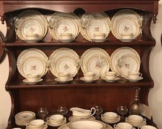 Royal Worchester 'Cromwell' china- 7 pc. place setting for 8 , platter, oval vegetable bowl, gravy boat-  made in England- purchased 1953