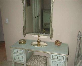 Vanity stool and mirror