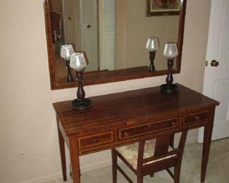 Vanity, stool and mirror