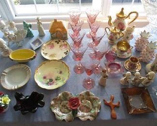 Pink depression glass and glassware