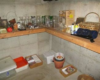 Glassware and basement items