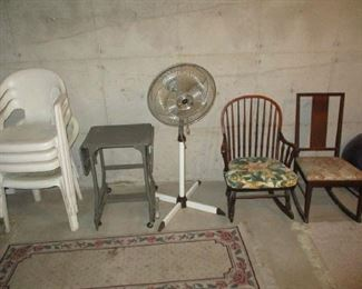 Chairs and fan