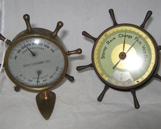 Vintage brass barometers