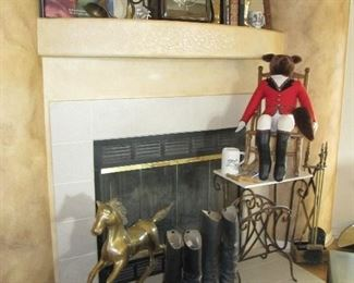 Brass rocking horse and english boots (great for decor)