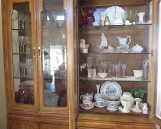 Thomasvill china cabinet filled with glass, porcelain, crystal and more