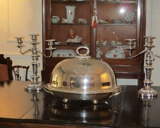 Large Silver Plate Meat Dome & Platter with hot water reserve, Elkington     Pr. Silver Plate Candleabra