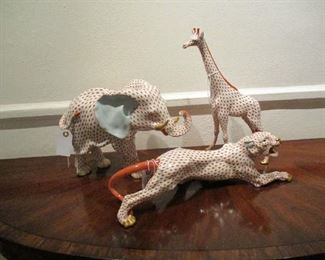 Large Herend Figures, Elephant, Panther & Giraffe