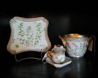 "3 of a group of a Dozen pieces of ""Flora Danica"" Royal Copenhagen, Sq. Tray, Covered Custard Cup & Cache Pot"