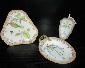 "3 more pieces of ""Flora Danica"", Triangular Tea Cake Stand, Oval Serving Dish, Relish Dish"