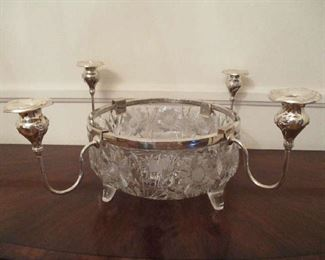 Cut Glass Center Bowl with 4 silver plate Candle Arms