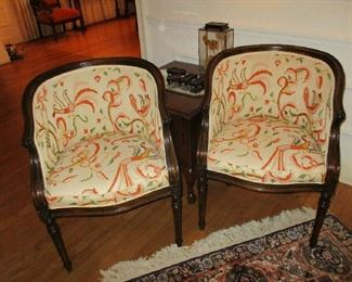 Pr of Louis XV style Side Chairs, Barrel shape