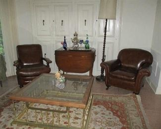 2 Vintage Leather Club Chairs, Brass & Glass Hearth style Coffee Table, Drop Leaf Table, Tall Oak Floor Lamp